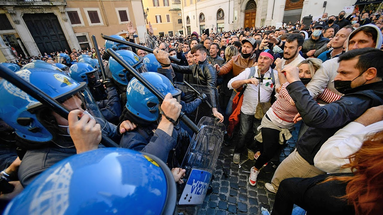 Anti-lockdown protests staged by small-business owners in Italy